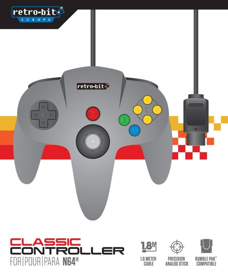 Image of   Retro-bit - Classic Gamepad Controller Til Nintendo 64 - Grå