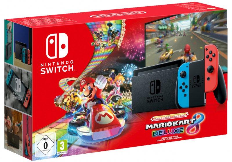Image of   Nintendo Switch Konsol Inkl. Mario Kart 8 Deluxe - Opgr. Udgave - Rød Blå