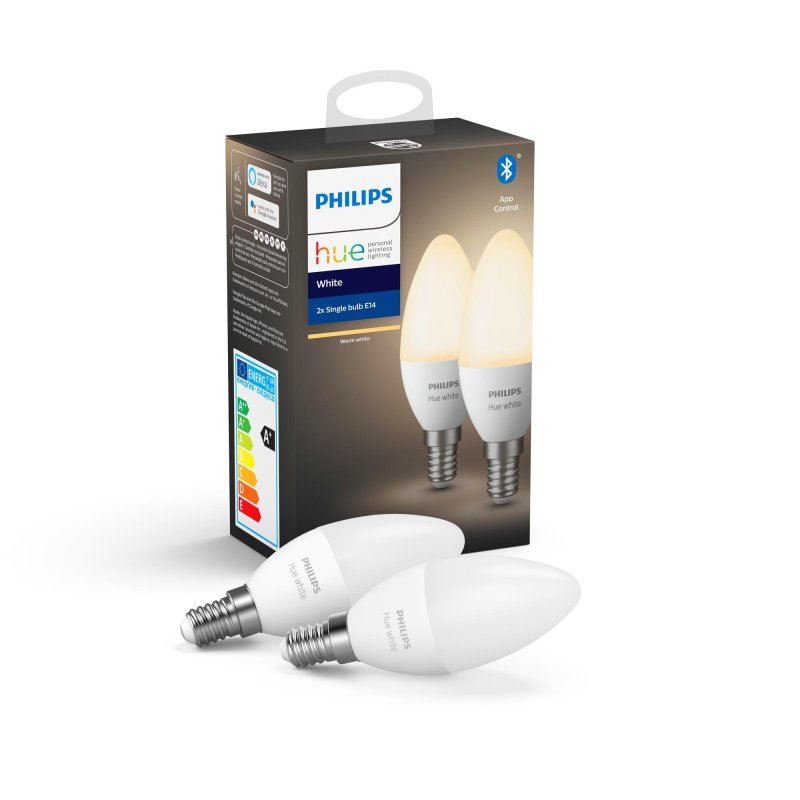 Image of   Philips Hue - White - 2 X Led E14 Pærer Med Bluetooth
