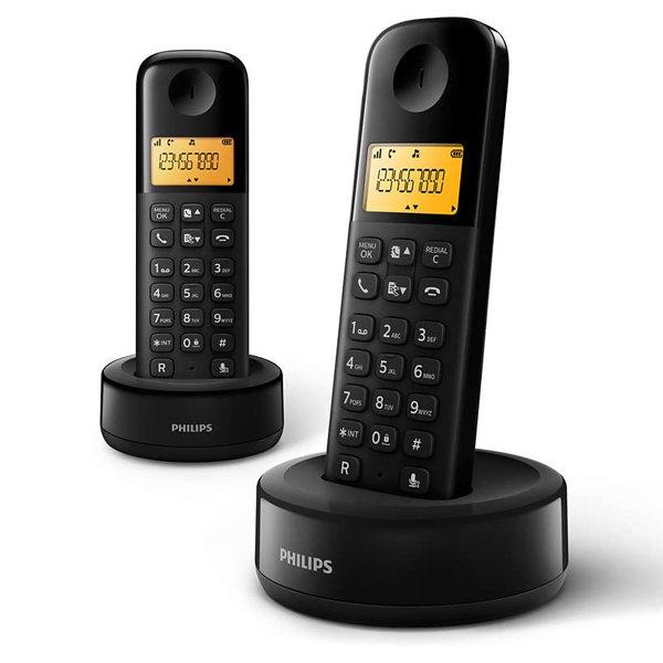 Image of   Philips - Trådløs Fastnettelefon Sæt - D1602b/01 - Sort - 2 Stk