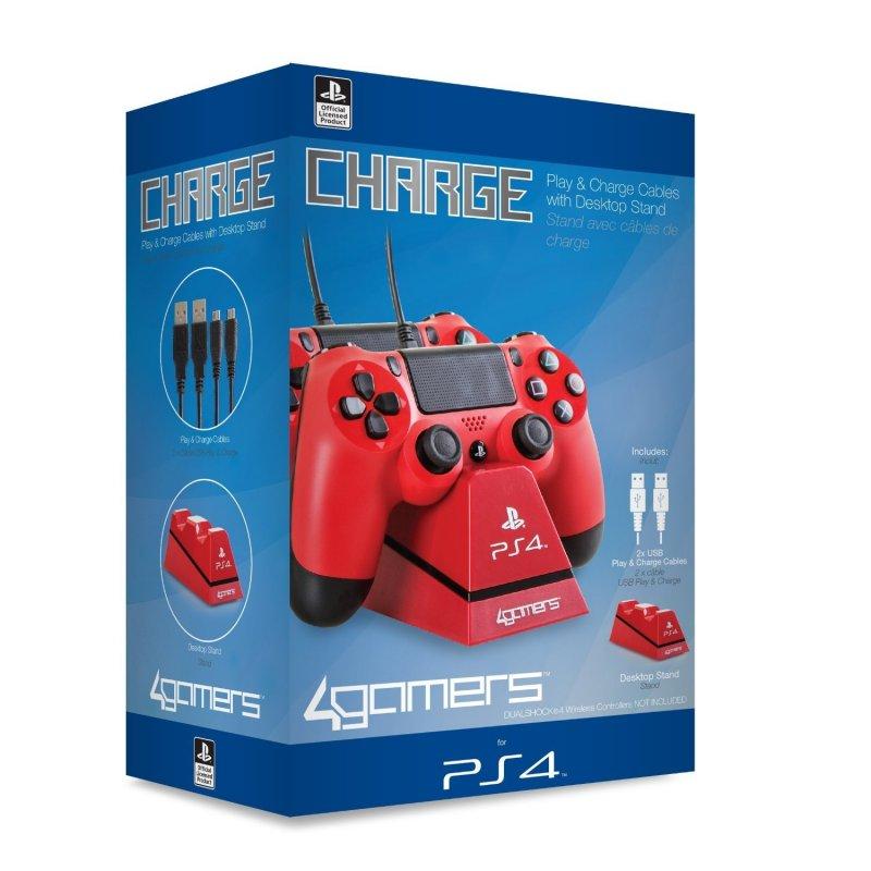 Image of   Playstation 4 - Oplader Til Ps4 Dualshock 4 Controller - Play And Charge - Rød