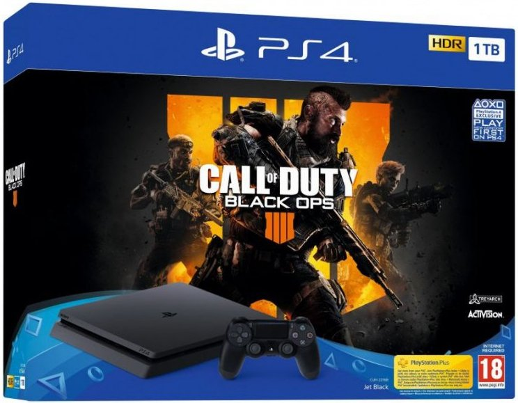 Image of   Playstation 4 Slim Konsol - 1tb Inkl. Call Of Duty: Black Ops 4 - Nordic