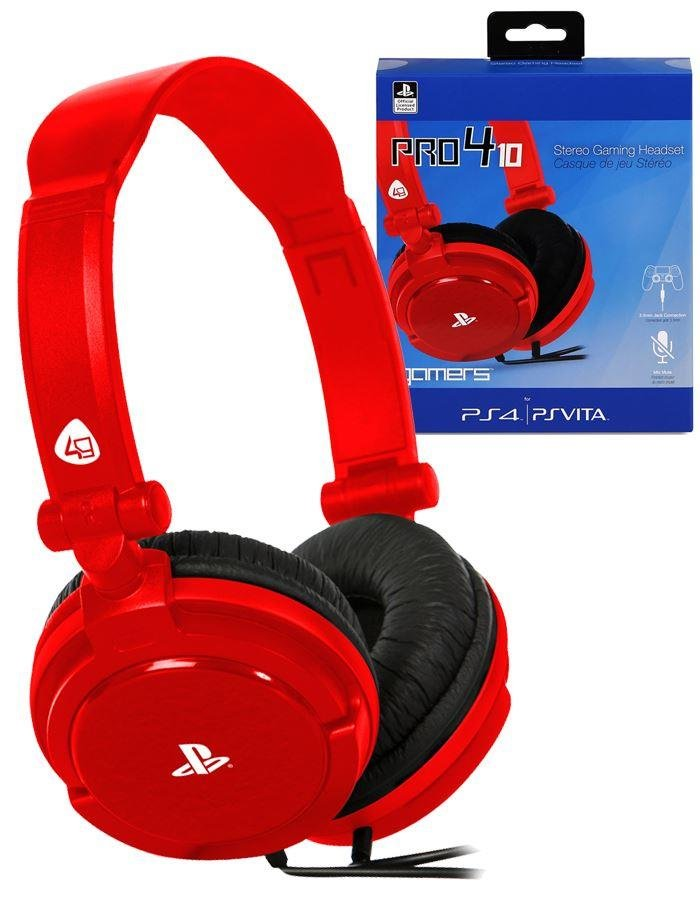 Image of   4gamers - Stereo Gaming Headset Til Sony Ps4 - Pro4-10 - Rød