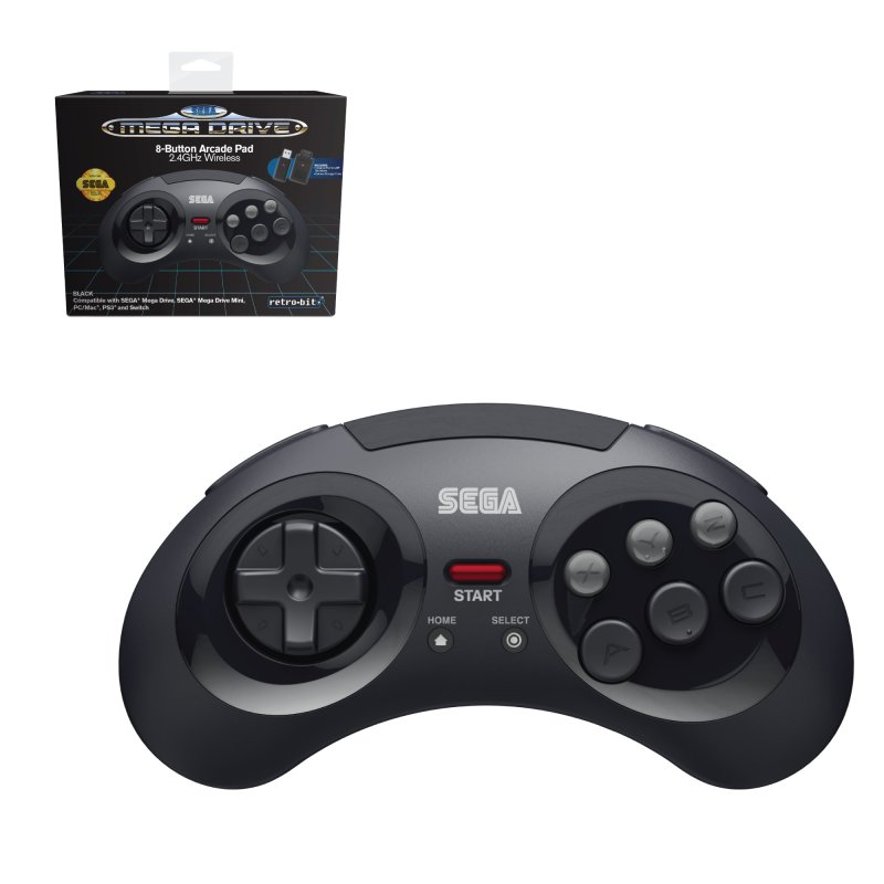 Image of   Retro-bit - Trådløs Gamepad Til Sega Mega Drive, Pc, Mac, Ps3 - Sort