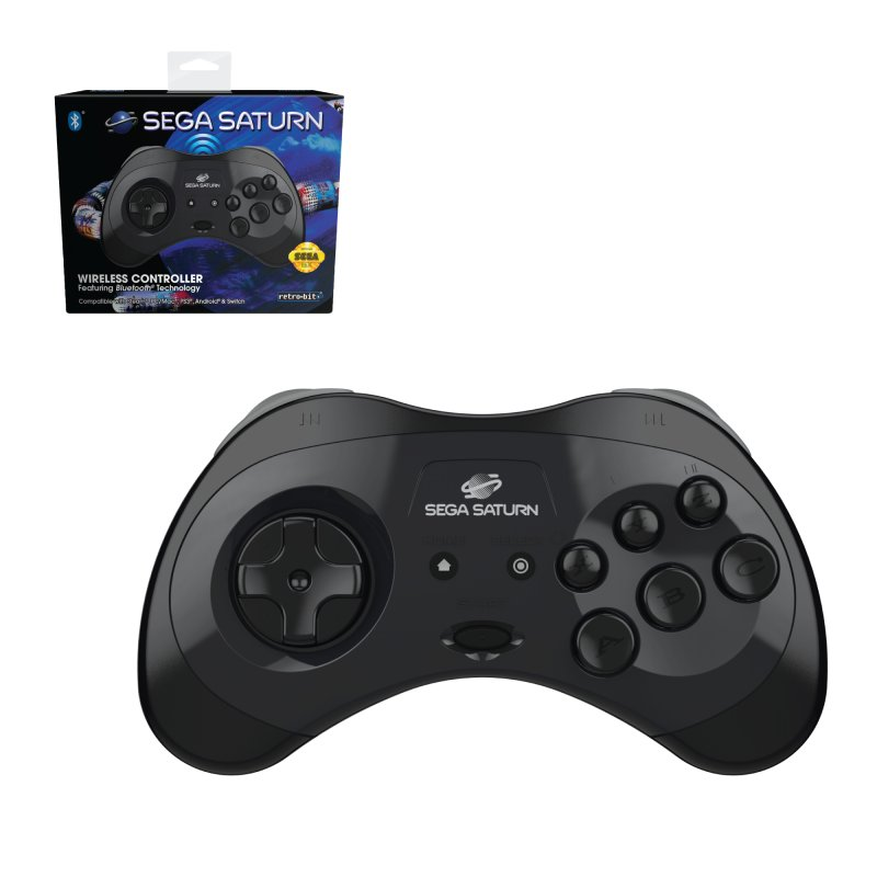 Image of   Retro-bit Sega Saturn - Gamepad Med Bluetooth Til Pc Mac Switch Steam - Sort