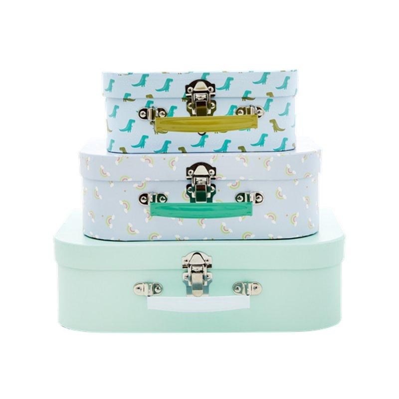 Image of   Rice - Farverige Papkufferter I Assorterede Print - 3 Stk. I Grøn Og Blå Print