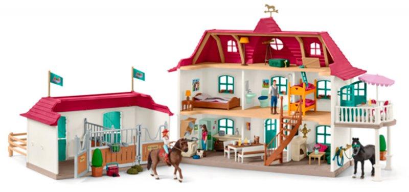 Schleich - Stor Hestestald Med Hus Og Stald Med Heste - 42416