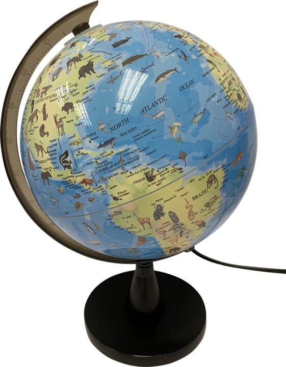 Globus Lampe Med Lys Med Dyr Og Lys – Lampe – 20 Cm