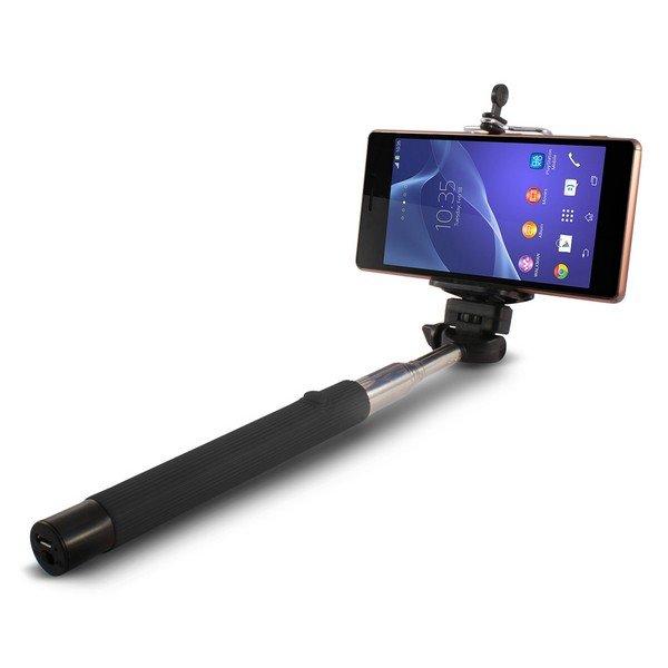 Image of   Selfie Stang Med Udløser Bluetooth Til Android Og Iphone - 1 M - Sort