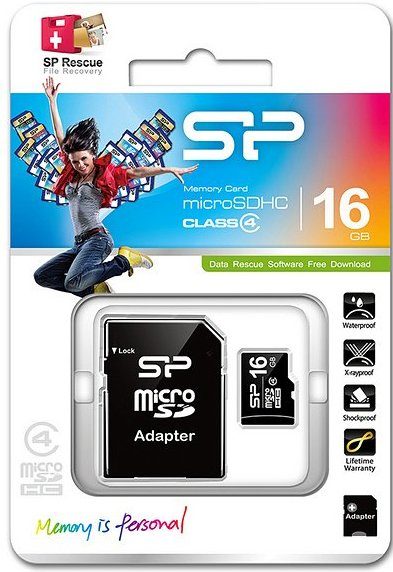 Image of   Silicon Power - Micro Sd Kort Med Adapter - 16gb Class 4