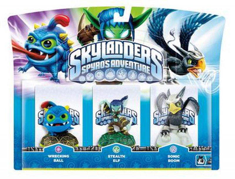 Image of   Skylanders Spyros Adventure - Wrecking Ball, Stealth Elf, Sonic Boom - 3 Pack
