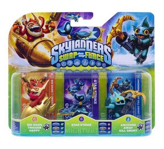 Image of   Skylanders Swap Force Figurer - Star Strike, Gill Grunt & Trigger Happy