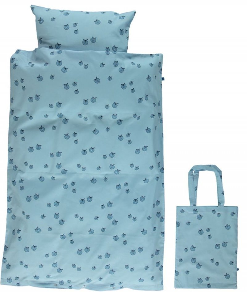 Opdateret Småfolk - Baby Sengetøj Med Æble Print - 70x100 Cm. - Air Blue NG77