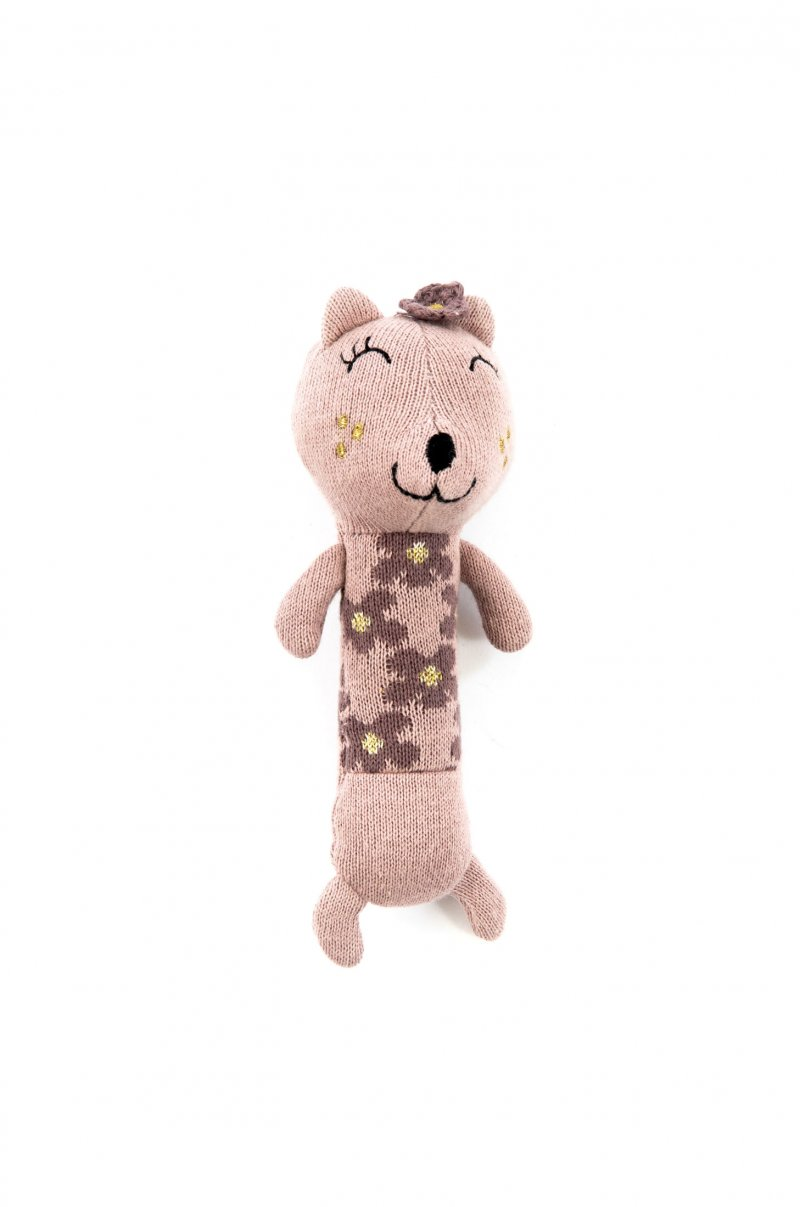 Smallstuff - Hæklet Maracas Rangle Bamse Til Baby - Kat I Guld Rosa