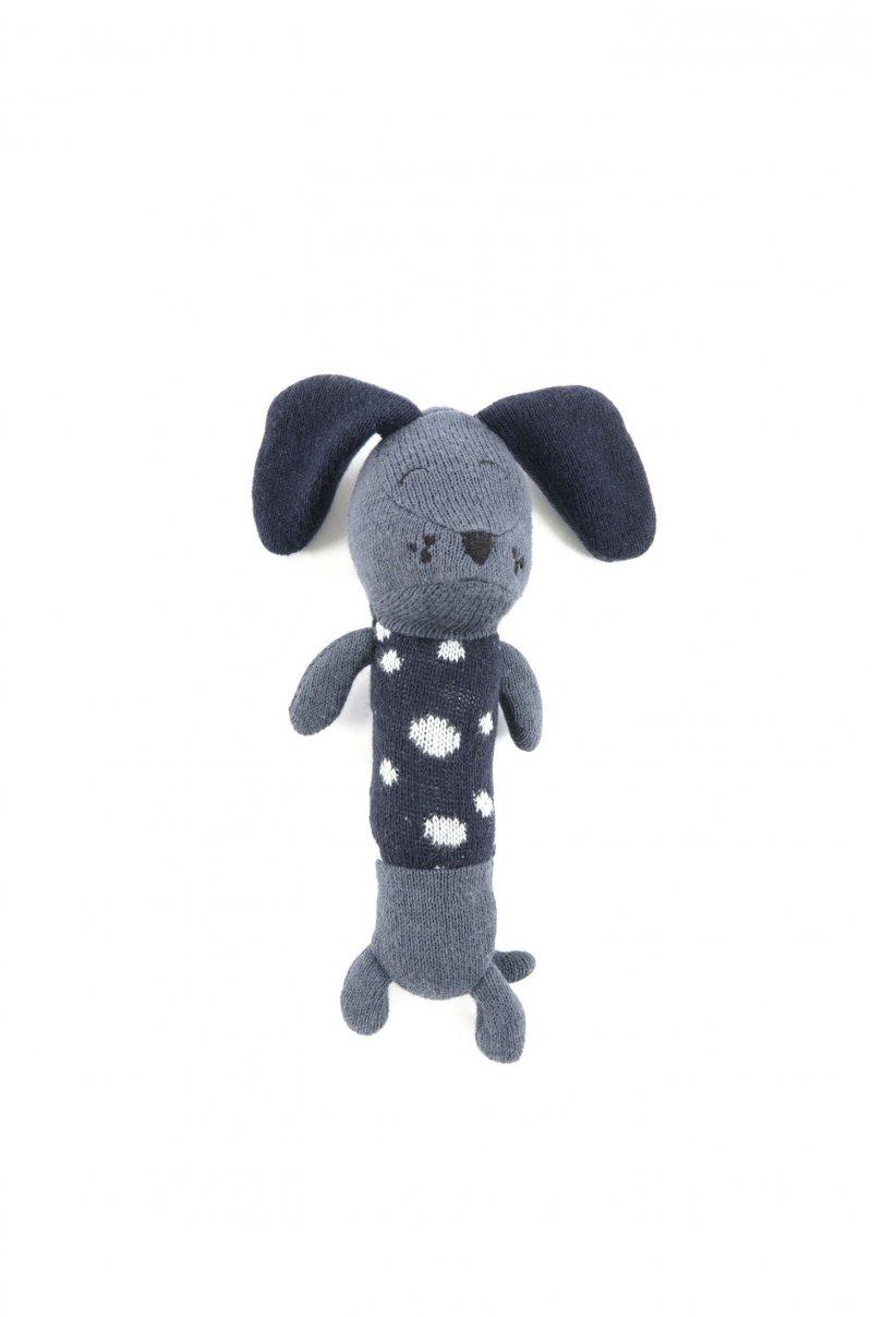 Smallstuff - Hæklet Maracas Rangle Bamse Til Baby - Dalmatiner Hundebamse I Blå