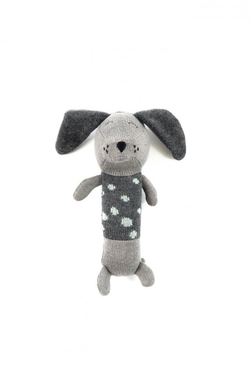Smallstuff - Hæklet Maracas Rangle Bamse Til Baby - Dalmatiner Hundebamse I Grå