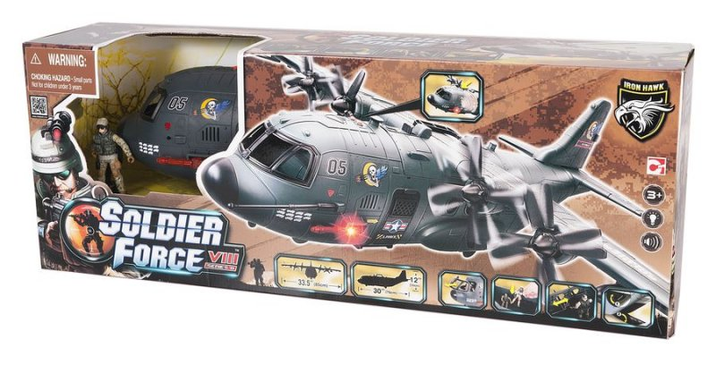 Image of   Soldier Force Legetøj - Ab-115 Shark Airplane Playset