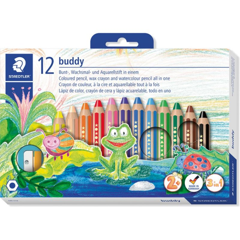 Image of   Staedtler - Buddy 140 - Chunky 3in1 Coloured Pencils In A Cardboard Box With 12 Colours (140 C12)
