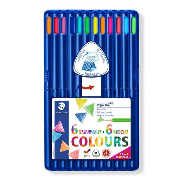 Image of   Staedtler - Coloured Pencil Ergosoft 12pcs Fsc 100% 10+2 (157 Sb12 P3)