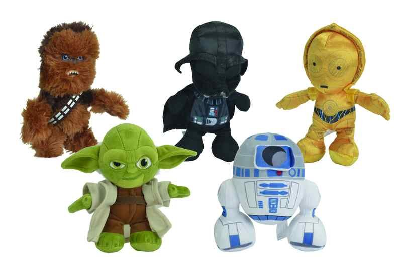 Star Wars Bamse Assorteret - Yoda / Darth Vader / Chew Bacca / R2d2 / C3po