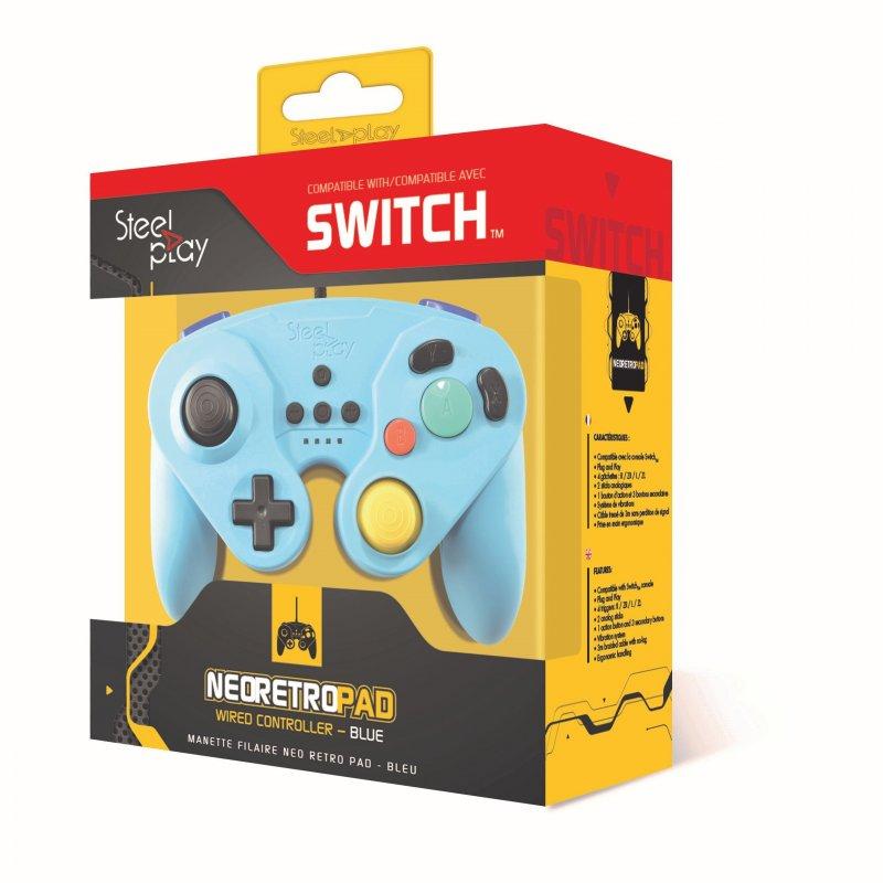 Image of   Steelplay Gcube Controller Med Kabel Til Nintendo Switch I Blå