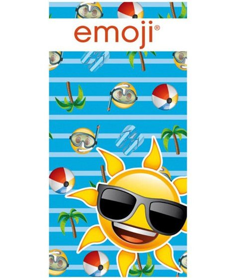 Strandhåndklæde Med Emoji Sol - Blå
