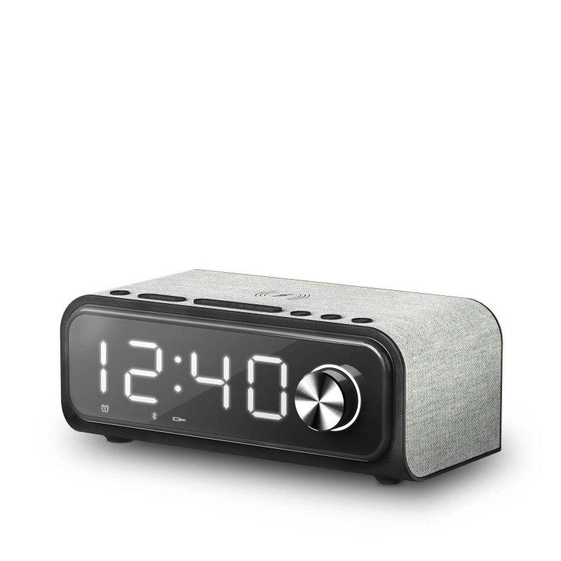 Image of   Energy Sistem - Fm Clockradio Vækkeur Med Qi Oplader Og Snooze - Sort Sølv