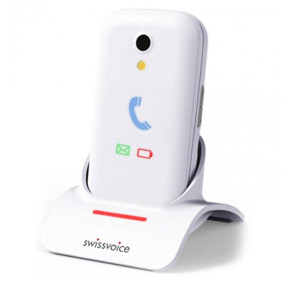 """Image of   Swiss Voice - Foldbar Mobiltelefon Til ældre - 2,8"""" - Dual Sim - S28 - Blå"""