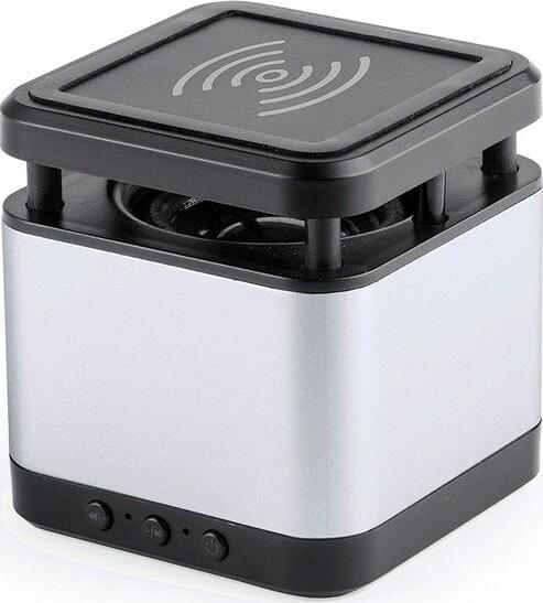 Trådløs Bluetooth Højtaler Med Qi Oplader Inkl. Usb Kabel – Sølv Sort