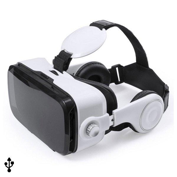 Image of   Virtual Reality Vr Briller Til Mobil Inkl. Høretelefoner - Sort Hvid