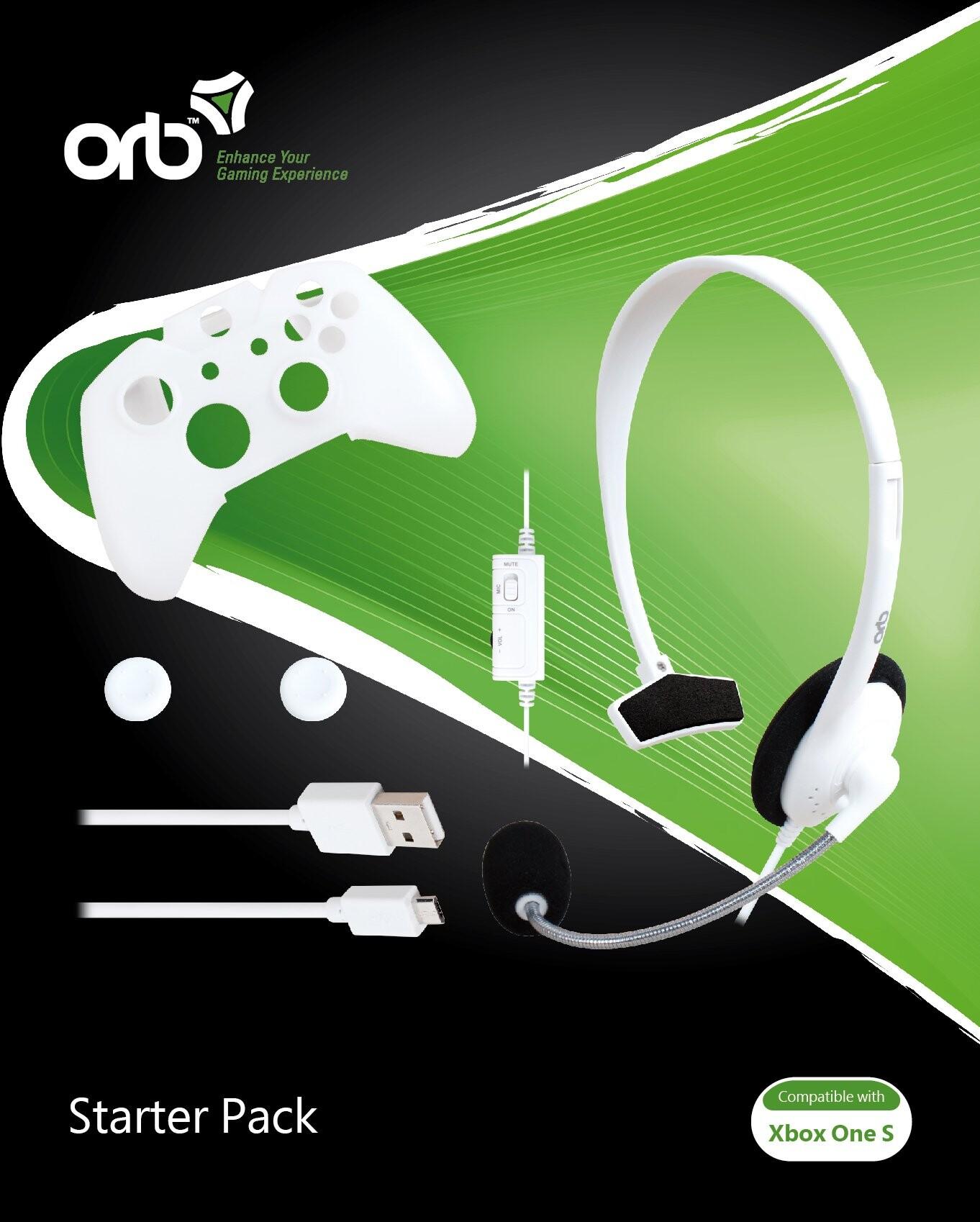Image of   Orb Xbox One S Starter Pack Med Hvide Chat Høretelefoner
